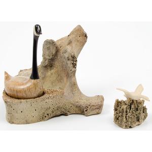 Chris Aningayou (Yup'ik, b. 1983) Alaskan Eskimo Walrus Ivory and Whale Bone Canadian Goose Carving; PLUS