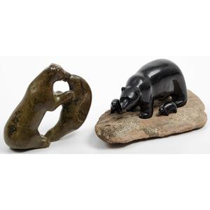 Eva Itulu (Inuit, b. 1930) Soapstone Carving of a Bear PLUS