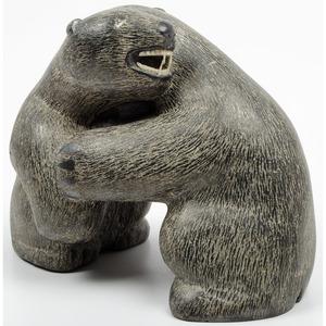 Inuit Carving of Wrestling Bears