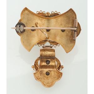 14 Karat Yellow Gold Victorian Enamel Brooch