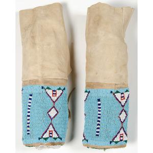 Plains Beaded Hide Leggings, From an Old Nebraska Collection