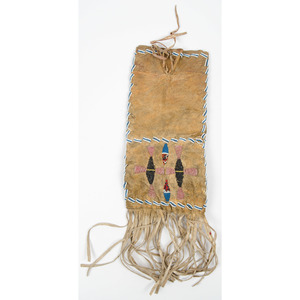 Plains Beaded Hide Tobacco Bag, From an Old Nebraska Collection