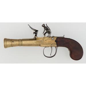English Brass Barreled Blunderbuss Flintlock Pistol by Court