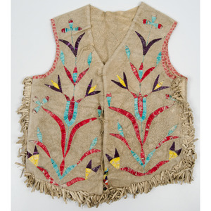 Eastern Plains Child's Quilled Hide Vest, From an Old Nebraska Collection