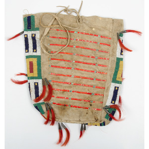 Sioux Beaded and Quilled Hide Possible Bag, From an Old Nebraska Collection