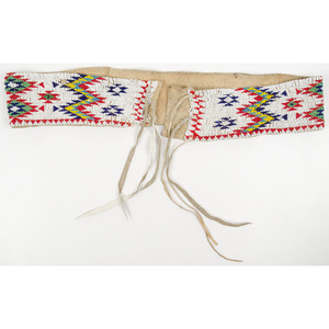 Sioux Beaded Hide Belt, From an Old Nebraska Collection