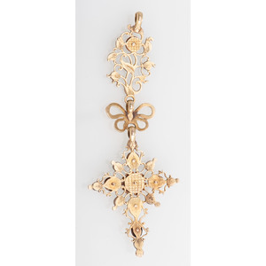 14 Karat Yellow Gold Austro Hungarian Gemstone Pendant