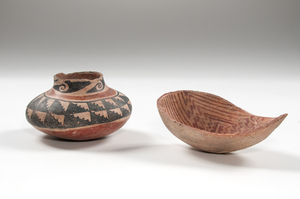 Salado Polychrome Pottery Jar and Hohokam Pottery Ladle