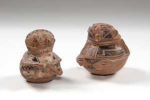 Casas Grandes Polychrome Hooded Human Effigy Pottery Jars