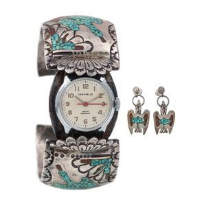 Zuni Silver, Turquoise, and and Coral Cuff Watch Band PLUS Earrings