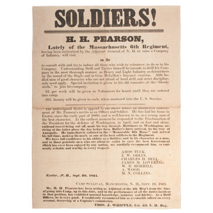 Civil War Recruitment Broadside from New Hampshire, Praising H.H. Pearson