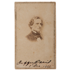 Jefferson Davis, CDV, Signed and Dated to his Imprisonment in Fortress Monroe