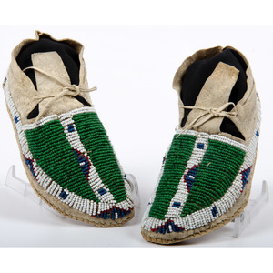 Northern Plains Child's Beaded Hide Moccasins