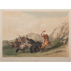 George Catlin (American, 1796- 1872), Hand-colored Lithograph on Paper