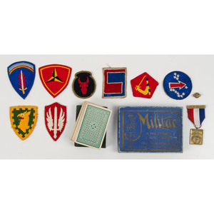 World War II Patches and Badges, Including Japanese Landing Banner and Korean War Commemorative Silk