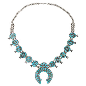 Zuni Silver & Turquoise Squash Blossom Necklace