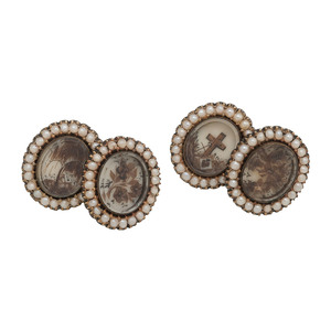 Gold Filled Victorian Hairwork Mourning Cufflinks