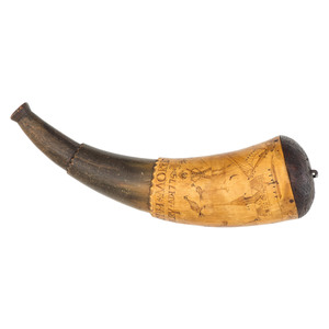 Josiah Morris His Horn Engraved Powder Horn Dated 1775,