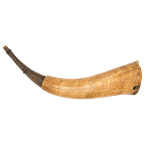 Jonathan Patt's Revolutionary War Soldier's Folk Art Powder Horn,