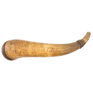Engraved Powder Horn Attributed to Seth Van Matre July 4,1812
