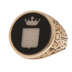 14 Karat Yellow Gold Onyx Intaglio Signet Ring