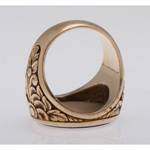 14 Karat Yellow Gold Onyx Intaglio Signet Ring