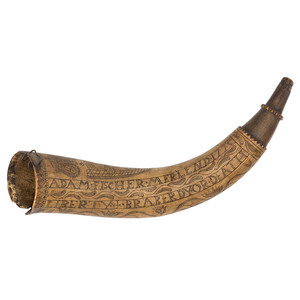 Engraved Powder Horn Adam Fischer Merlend 1775