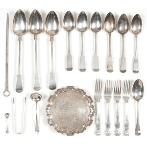 British Sterling Flatware and Card Tray