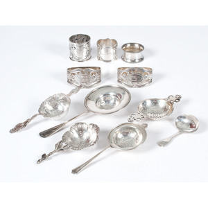 Sterling Tea Strainers and Napkin Holders, Plus