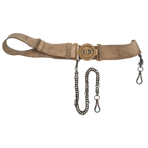 Pre-Civil War Buff Leather U.S. Belt with Sword Hanger Chains