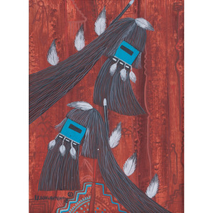 Terrance Talaswaima (Hopi, 1938 - 1988) Oil on Board