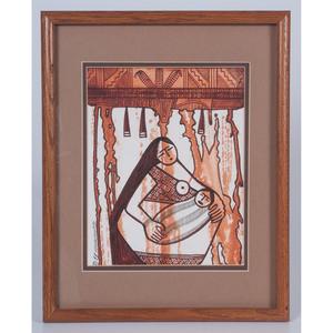 Terrance Talaswaima (Hopi, 1938 - 1988) Watercolor on Paper