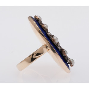 14 Karat Yellow Gold and Silver Enamel, Diamond and Pearl Ring