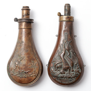 Lot of Two Hunting Scene Powder Flasks