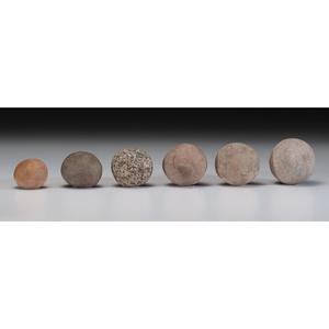 Six Granite Game Balls, Largest 4 in.