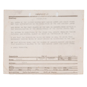Rear Admiral Francis J. Mee, World War II Archive Including Japanese Surrender Notification