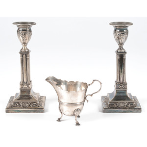 English Sterling Neoclassical Candlesticks and Creamer