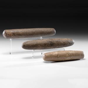 Three Handstone Roller Pestles, Longest 14-1/8 in.