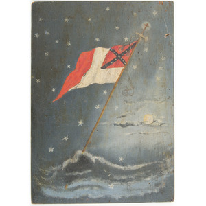 Conquered Banner CSA, Confederate Flag Painting on Wood, Signed and Dated 1871