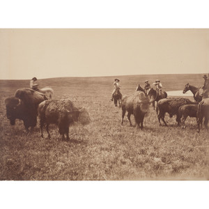 Albumen Photograph of Buffalo Bill Cody Hunting Buffalo