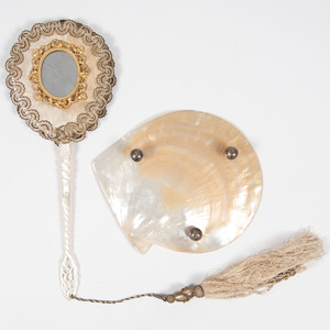 Mother of Pearl Dish and Hand Mirror
