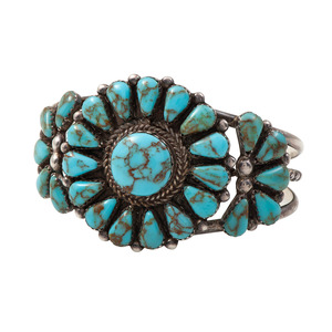 Peter Morgan (Dine, 20th century) Navajo Silver and Turquoise Cuff