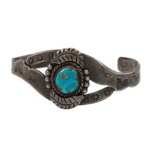 Mexican Silver and Turquoise Cuff Bracelet