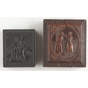 Quarter Plate Daguerreotype of Man and Woman with Book, Plus