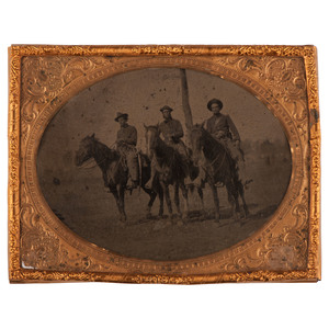 Half Plate Tintype of Three Western Cavalrymen in the Field