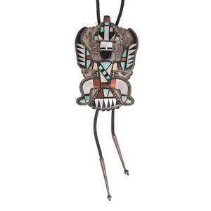 Massive Zuni Knifewing Mosaic Inlay Bolo Tie