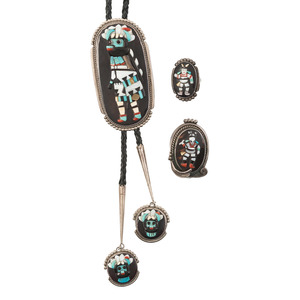 Augustine and Rosalie Pinto (Zuni, 20th century) Silver Mosaic Inlay Bolo Tie and Ring PLUS