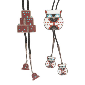 Larry Laate (Zuni, 1956-2010) Silver Channel Inlay Olla Bolo Tie PLUS