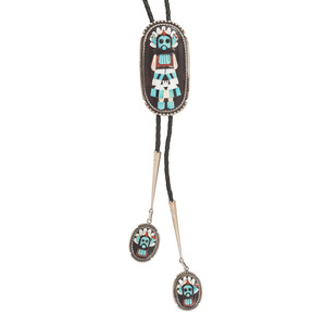 Beverly Etsate (Zuni, 20th century) Raised Mosaic Inlay Shalako Bolo Tie