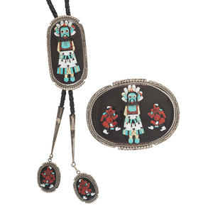 Beverly Etsate (Zuni, 20th century) Raised Mosaic Inlay Shalako and Mudhead Belt Buckle and Bolo Tie